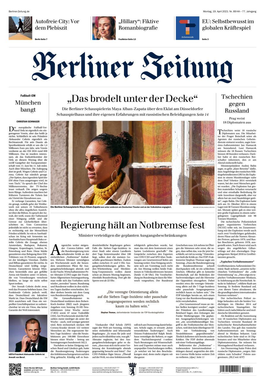 Berliner Zeitung vom Montag, 19.04.2021