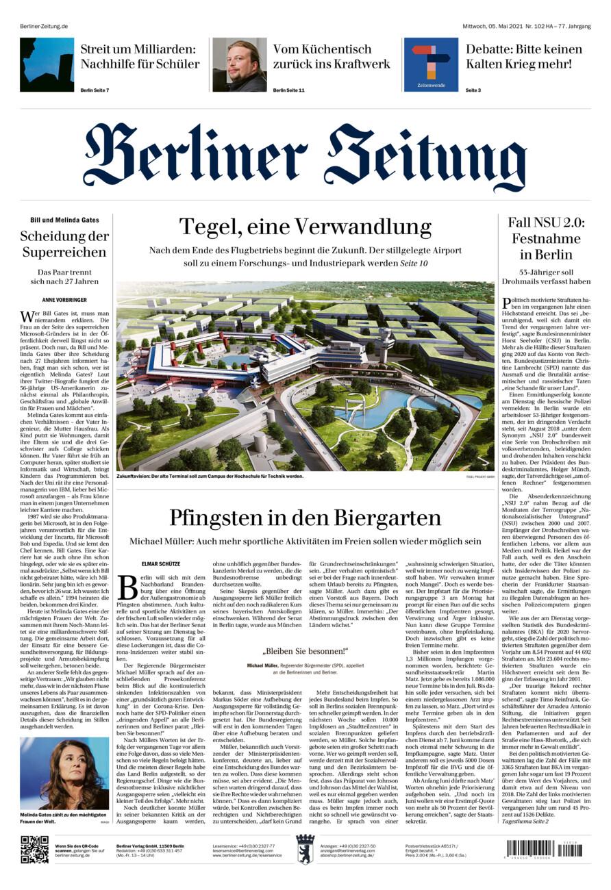 Berliner Zeitung vom Mittwoch, 05.05.2021