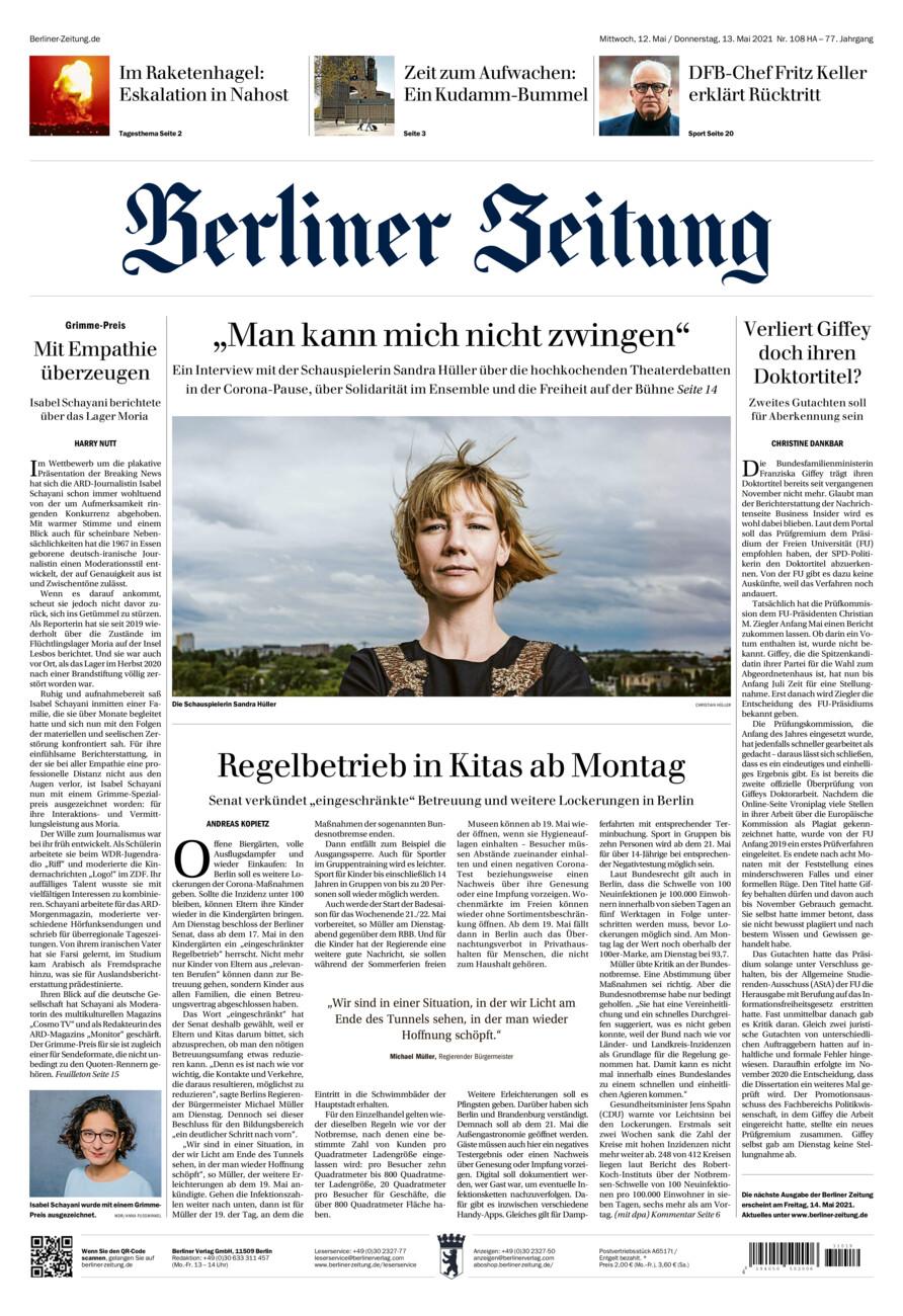 Berliner Zeitung vom Mittwoch, 12.05.2021