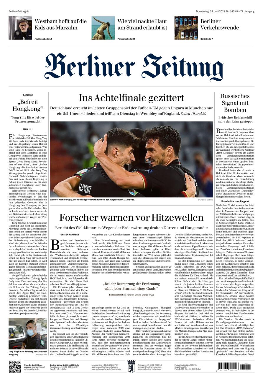 Berliner Zeitung vom Donnerstag, 24.06.2021