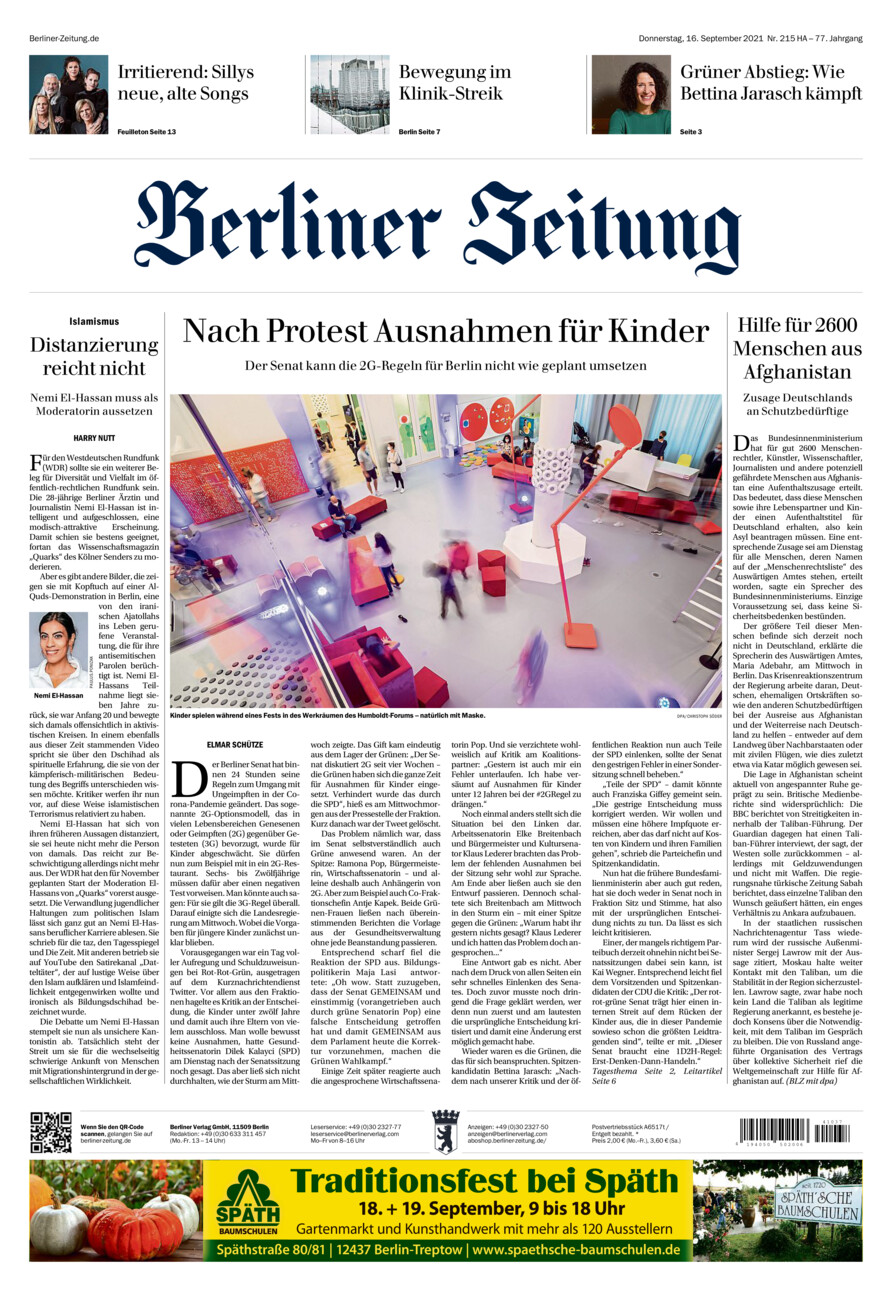Berliner Zeitung vom Donnerstag, 16.09.2021