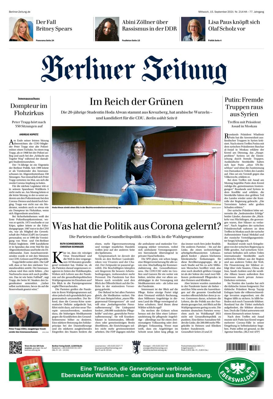 Berliner Zeitung vom Mittwoch, 15.09.2021
