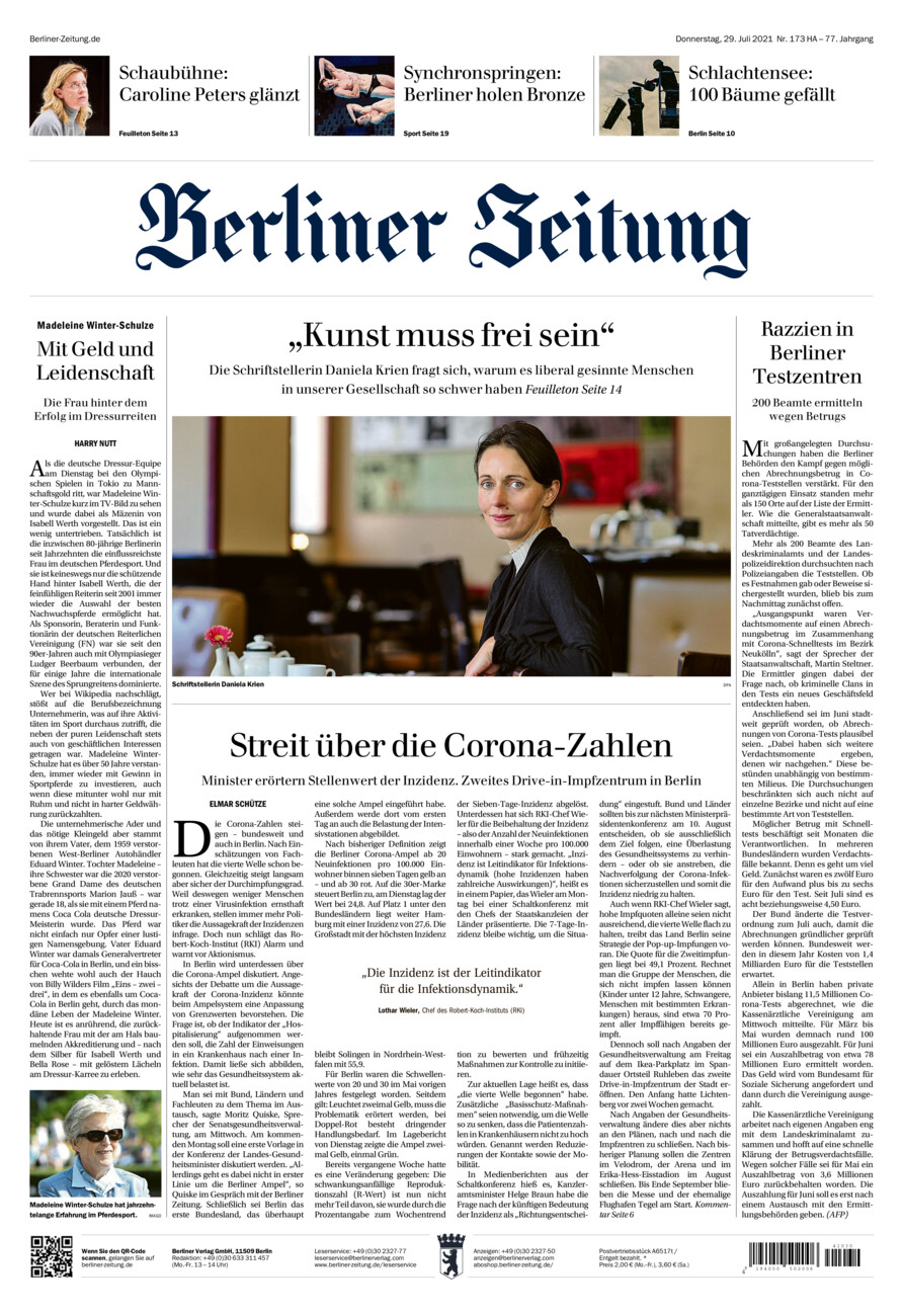 Berliner Zeitung vom Donnerstag, 29.07.2021