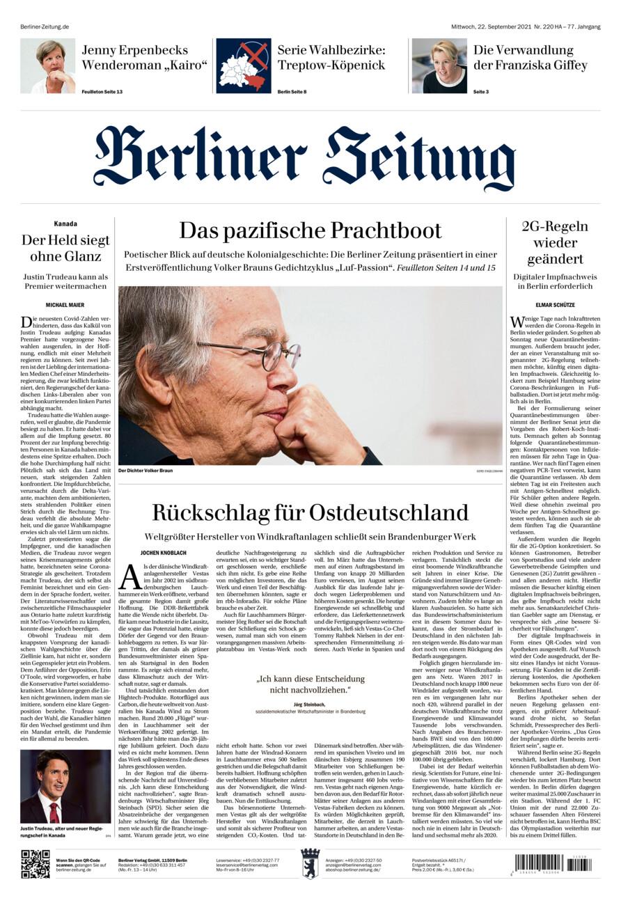 Berliner Zeitung vom Mittwoch, 22.09.2021