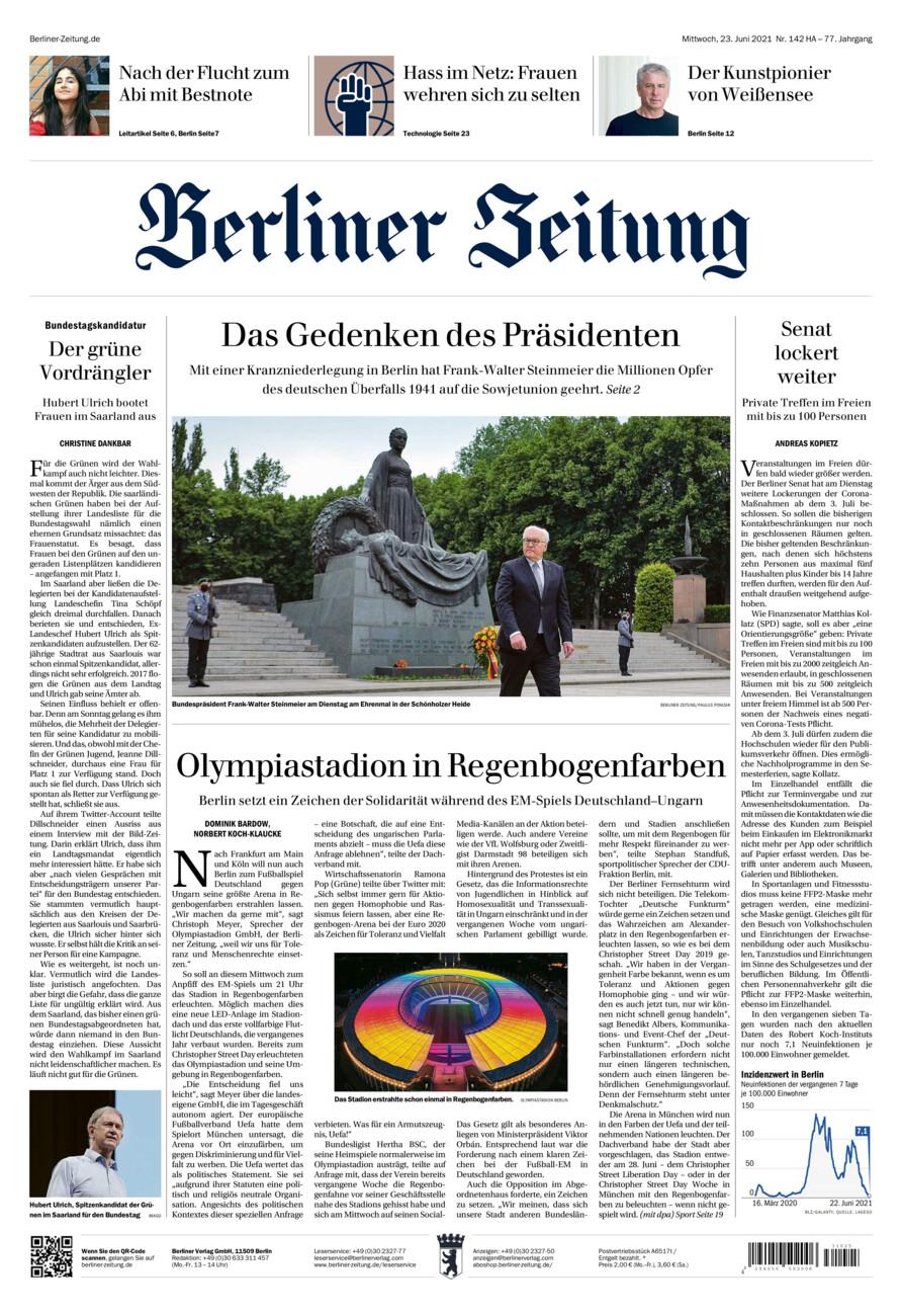Berliner Zeitung vom Mittwoch, 23.06.2021