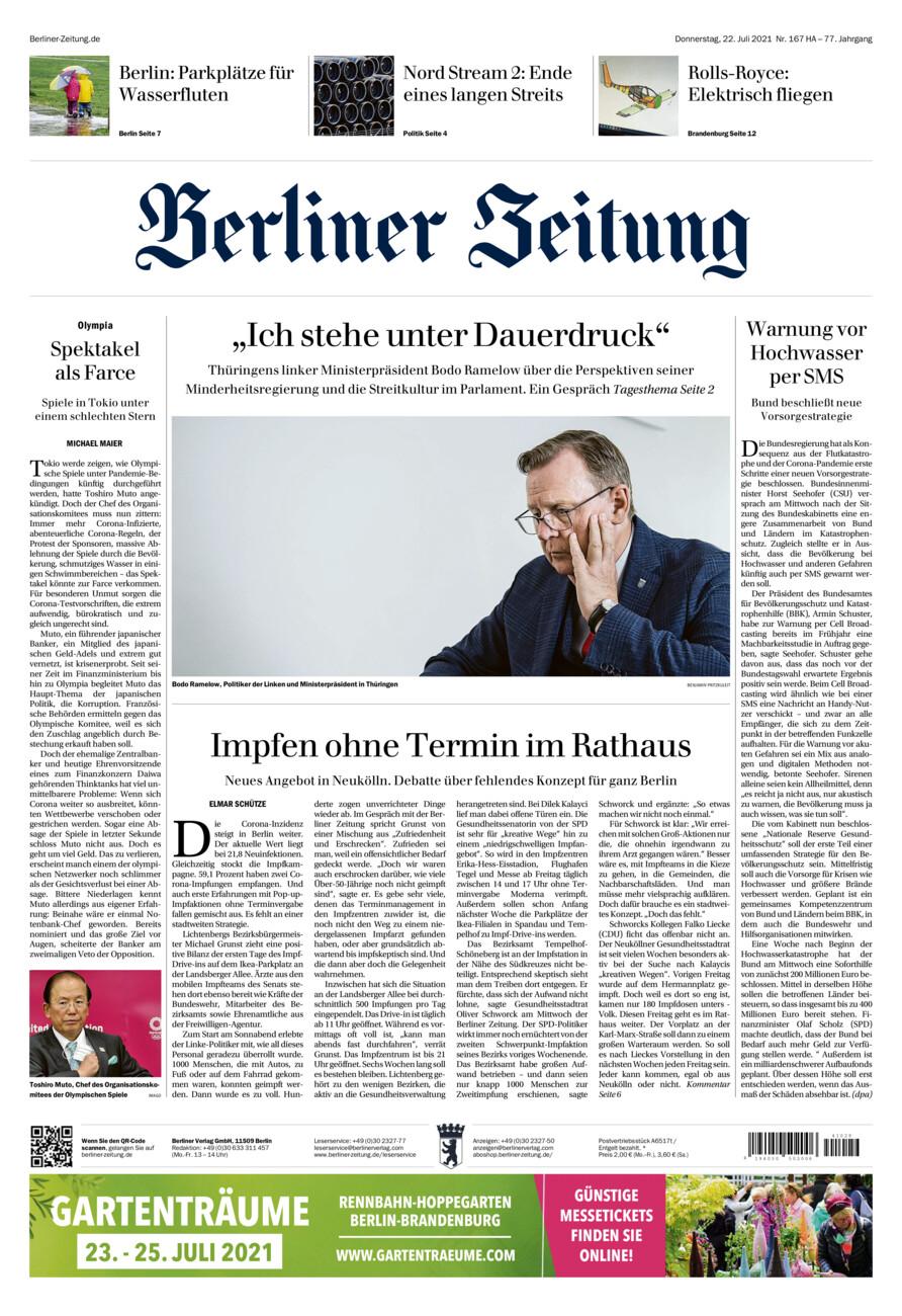 Berliner Zeitung vom Donnerstag, 22.07.2021