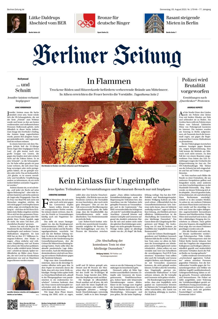 Berliner Zeitung vom Donnerstag, 05.08.2021