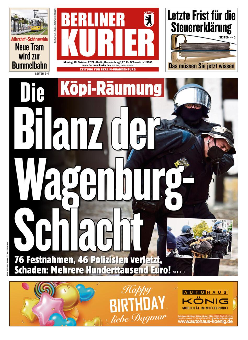 Berliner Kurier vom Montag, 18.10.2021