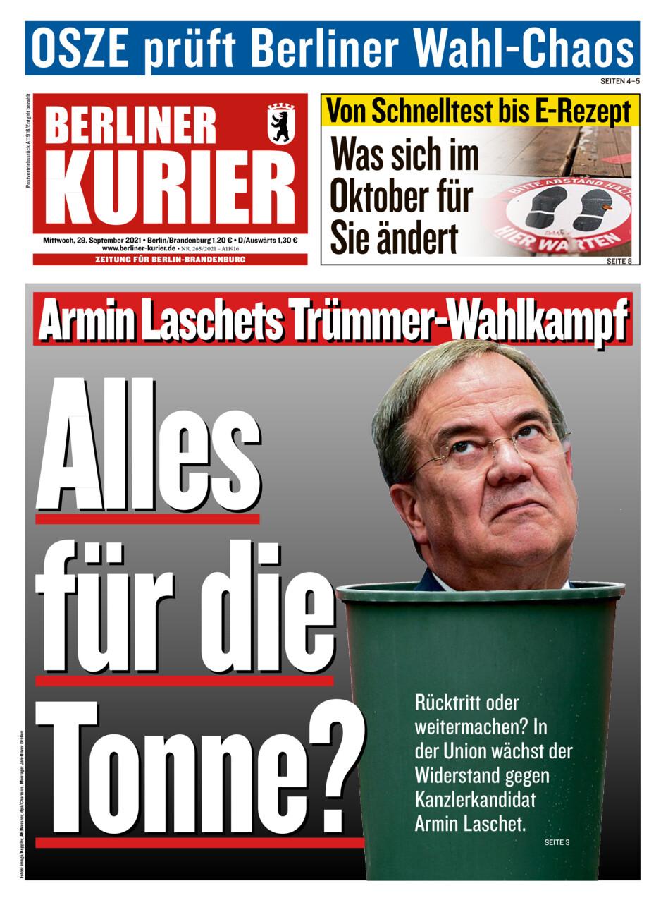 Berliner Kurier vom Mittwoch, 29.09.2021