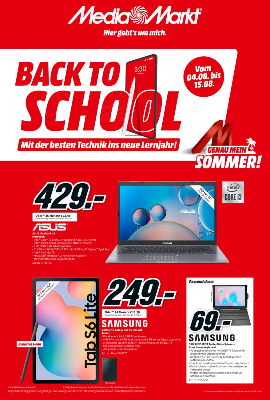 Media Markt Back2School vom Mittwoch, 04.08.2021